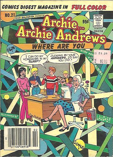 Image for ARCHIE ARCHIE ANDREWS WHERE ARE YOU DIGEST NO. 21