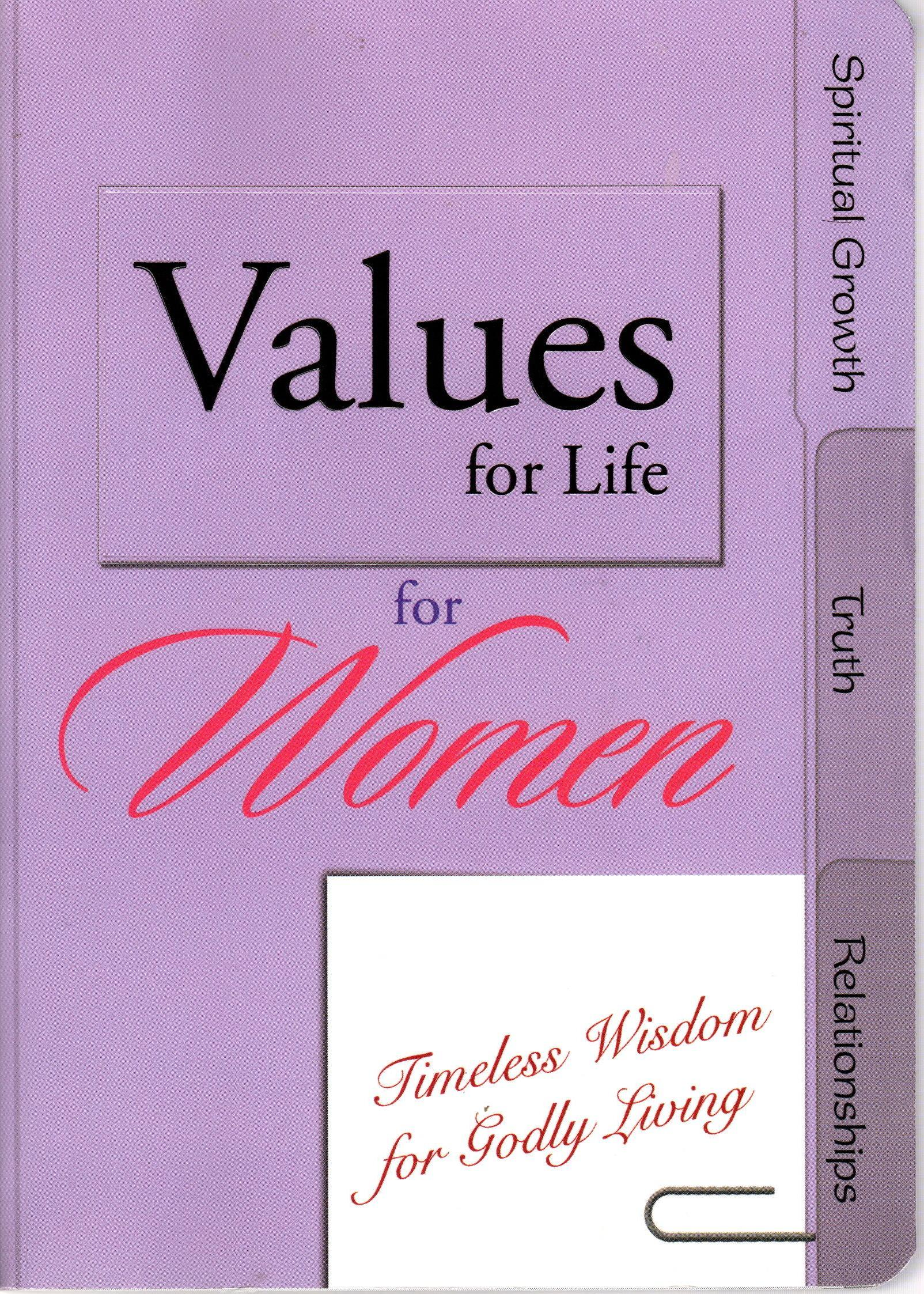 Image for VALUES FOR LIFE FOR WOMEN